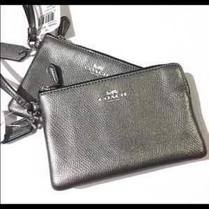 NWT Coach gunmetal wristlet!! PRICE FIRM